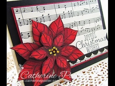 Copic Markers - Stampin' Up Poinsettia Christmas Card with Catherine Pooler