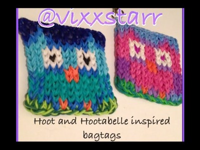 Hoot Owl Mini Mural Cute Bag Tag Charm Rainbow Loom BEGINNER Tutorial
