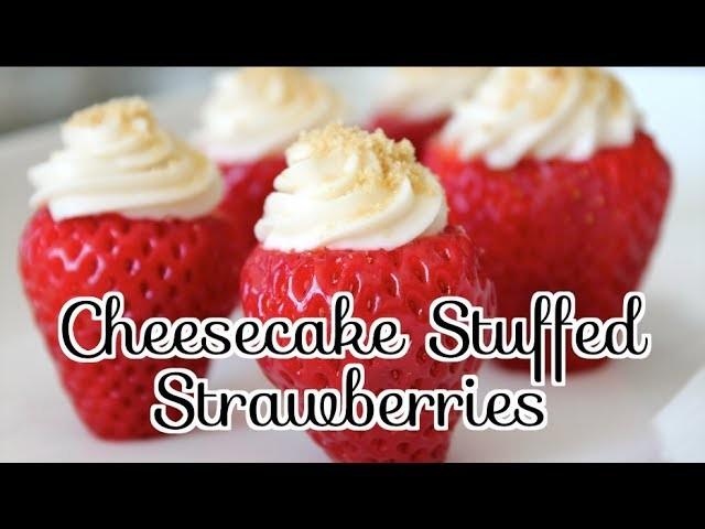 ✦ How to Make CHEESECAKE STUFFED STRAWBERRIES (NO BAKE) ✦  NOSHING WITH PARIS
