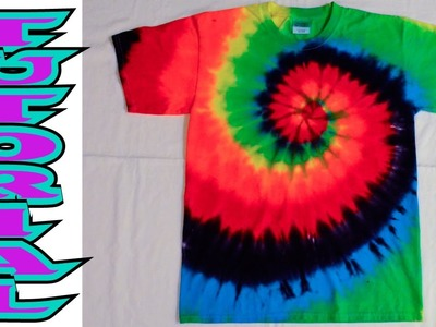 How to Tie Dye a Rainbow Spiral or swirl shirt [Full Tutorial]