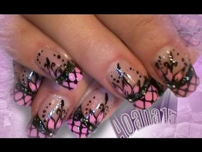 Vintage hat Inspired pink and black video nail art tutorial