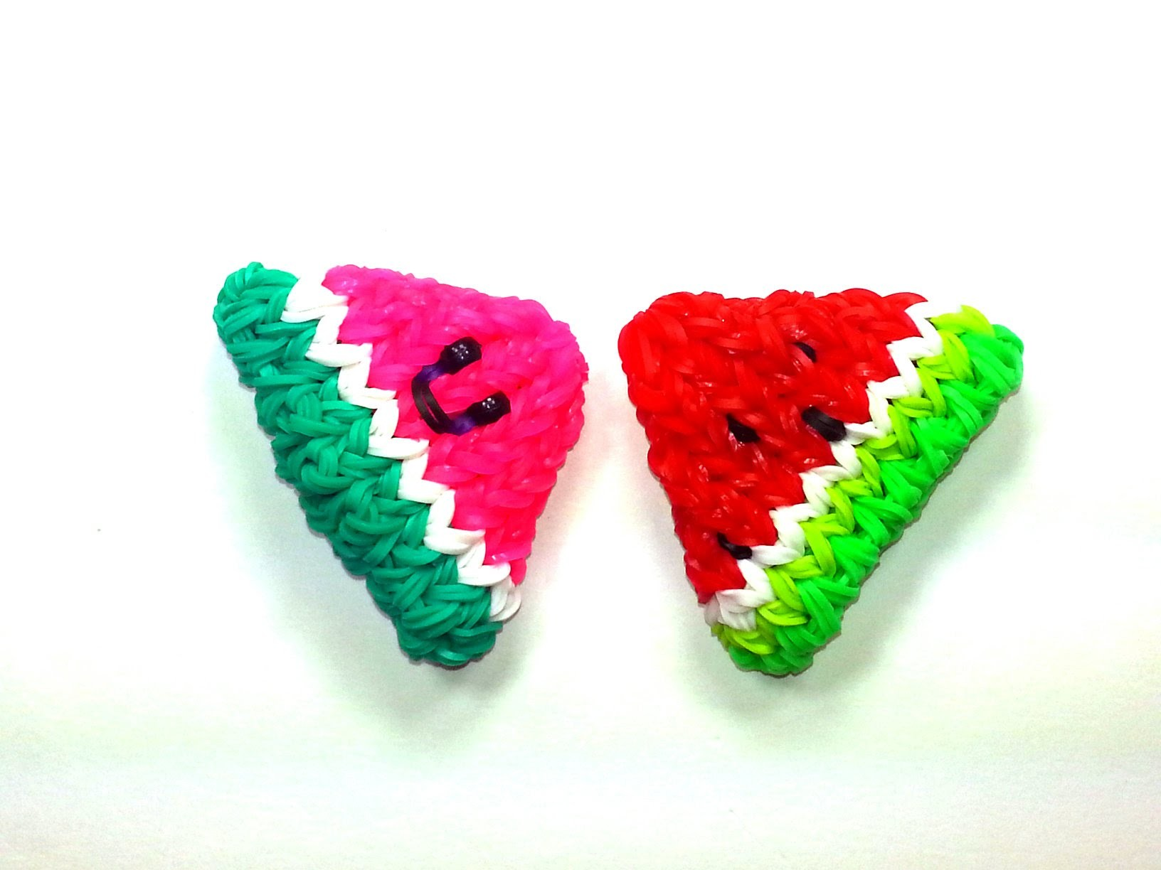 3-D Happy Watermelon Slice Tutorial by feelinspiffy (Rainbow Loom)