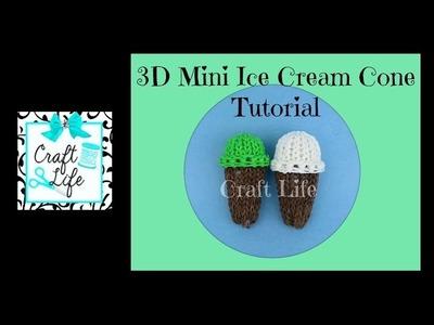 Craft Life Mini 3D Ice Cream Cone Tutorial on One Rainbow Loom