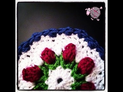 Crochet Flower Bud Granny Octagon Afghan - Squares and Triangles
