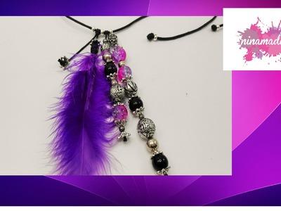 DIY. Collar de perlas y pluma. Pearl and feather necklace