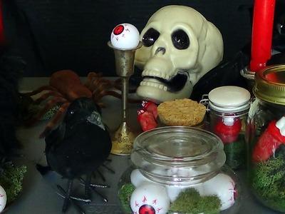 DIY Halloween Decor Crafts (thrifty terrariums + MORE)