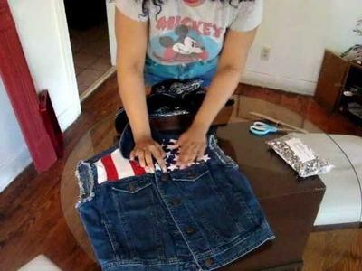 DIY : Studded American Flag Denim Vest !