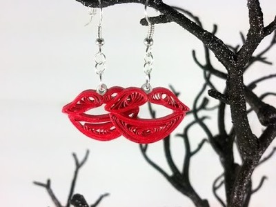 Kiss Lips Paper Quilled Earrings paper quilling jewelry, quilled kisses, gift for her -Art & Craft