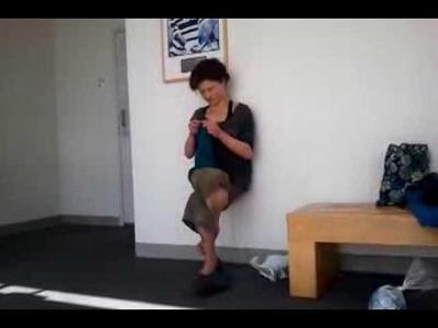 Marianna Knitting for 2 min 40 sec in Eagle Pose (Garudasana)