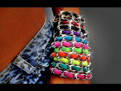 Tutorial 46 • DIY: Bracciale catena e fettuccia in lycra - How to create a bracelet with lycra