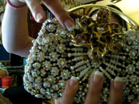 Hand made crystal evening purse