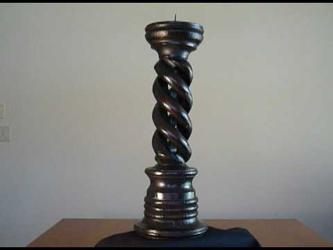 Hollow Spiral Barley Twist Candle stick Pine