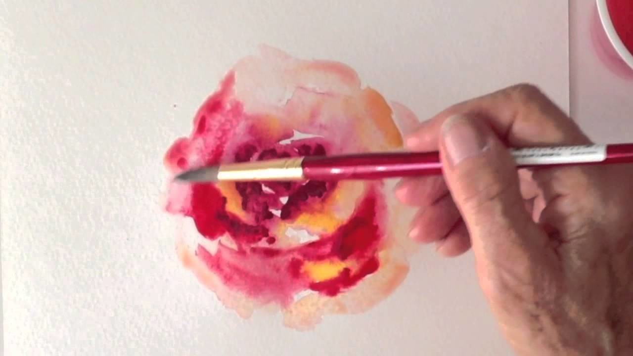 How to paint a Rose in watercolors, the impressionistic way