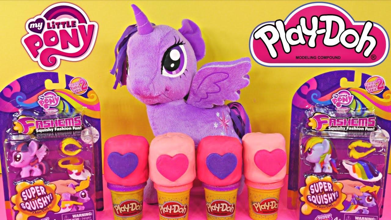 My Little Pony Fashems Twilight Sparkle and Rainbow Dash + 4 MLP Play Doh Eggs Playdoh Playdough