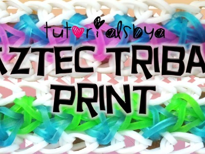 NEW Aztec Tribal Print Bracelet Rainbow Loom Tutorial