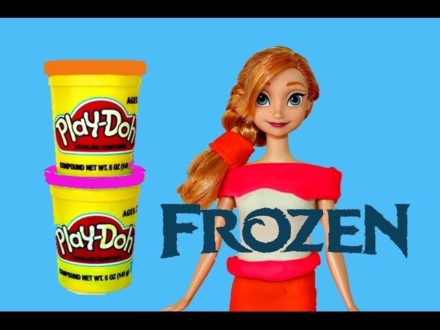 Play Doh Frozen Anna Barbie Doll Makeover Disney Princess Color Change PlayDough Dress