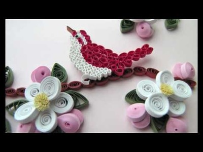 Quilled Bird and Apple Blossoms