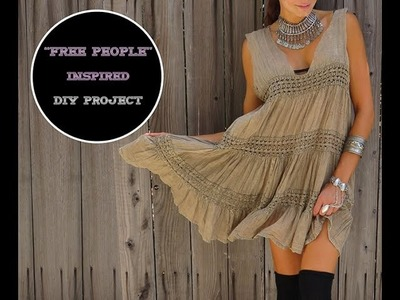 "DIY VIDEO How to make ""Free People"" Inspire Babydoll Dress (redesign old clothes)"