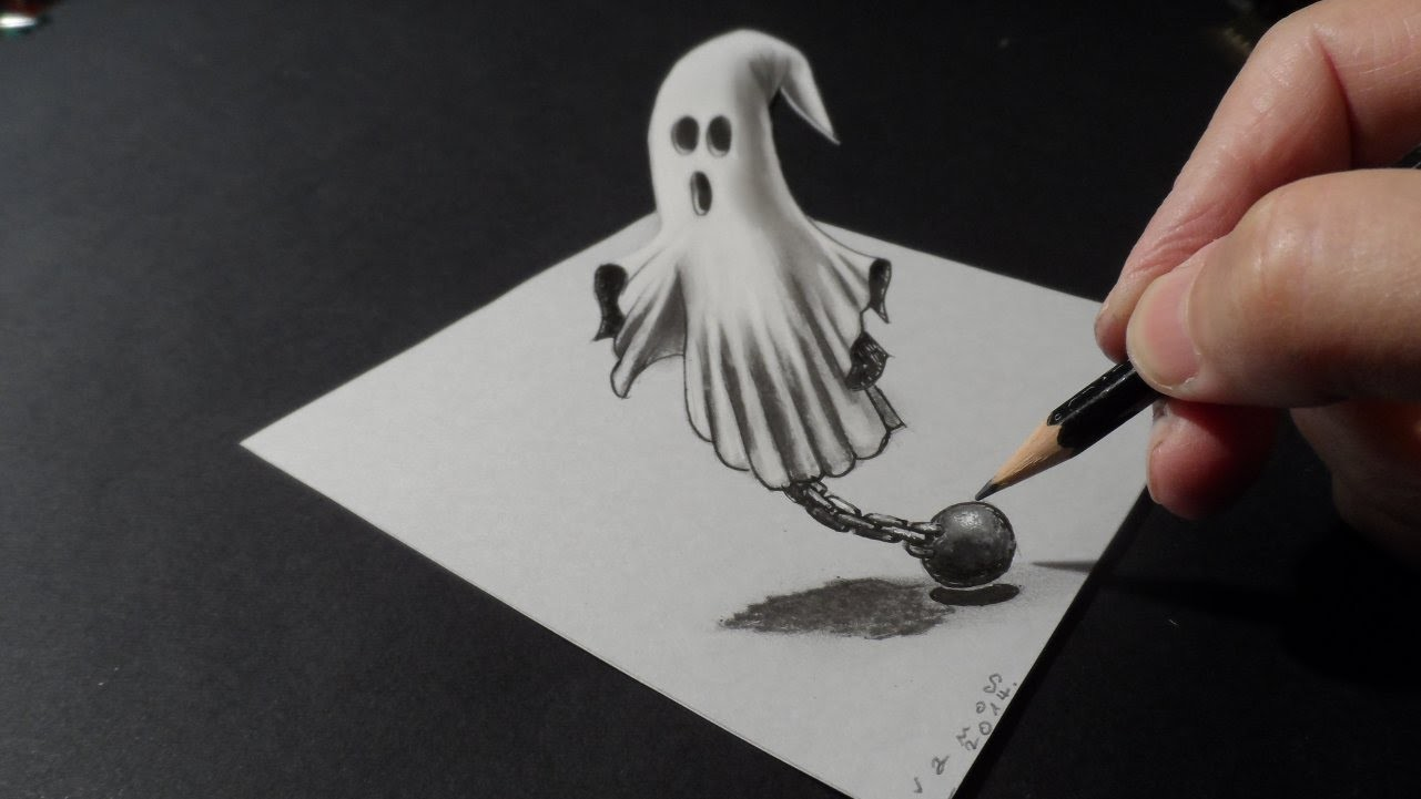 Drawing a 3D Ghost, Trick Art