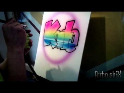 How to Airbrush block letters with a sunset design.