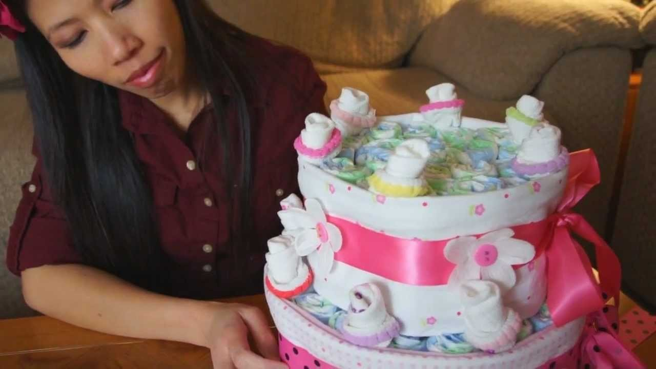 How To Make A Diaper Cake For Baby Girls
