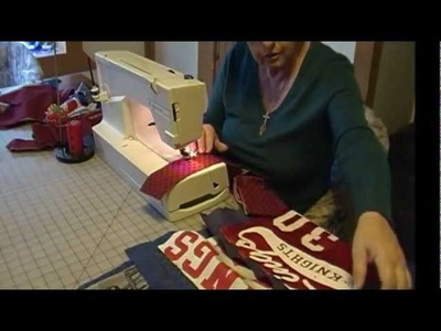 HOW TO MAKE A QUILT USING SPORTS UNIFORMS & T SHIRTS-PART 2.wmv