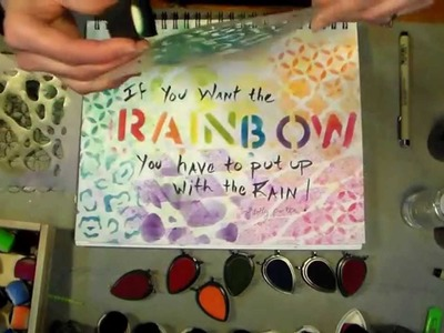 Mixed Media Fun: rainbow stenciled journal page