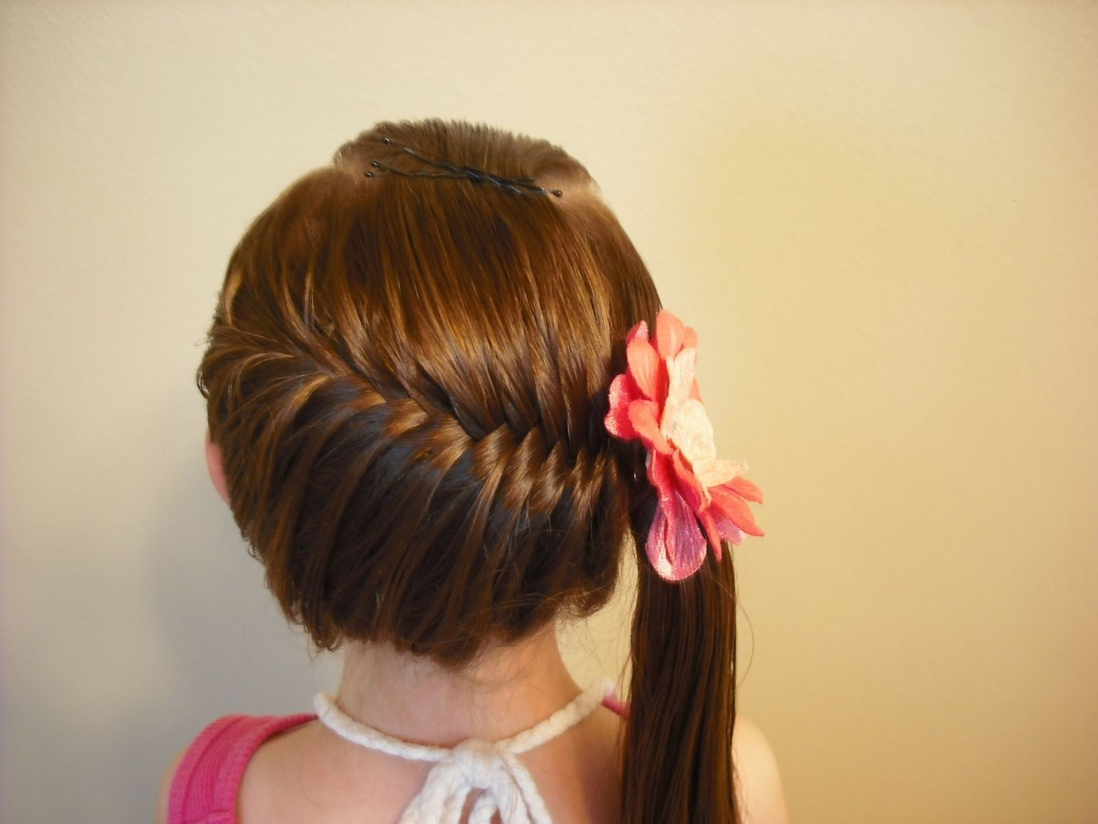 Side Swept French Fish Braid Hairstyle