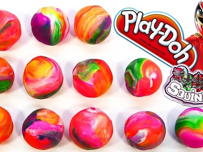 12 Play-Doh Rainbow Toy Surprise Power Rangers Squinkies Eggs Play Dough