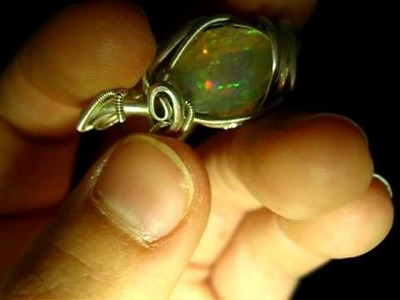 Ethiopian Wello Rough Crystal Opal Wire Wrap Pendant
