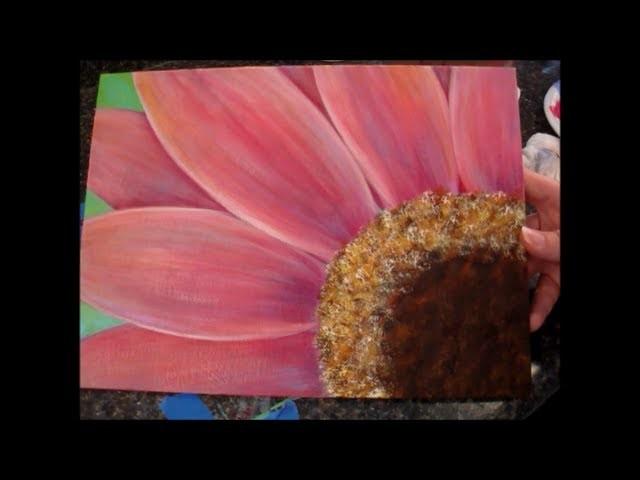 Gerbera Daisy Acrylic Painting Tutorial for Beginners (Part 1)