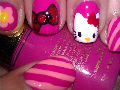 HELLO KITTY NAIL TUTORIAL!!!