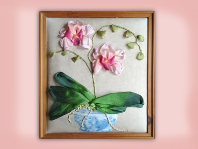 How to embroider a silk ribbon orchid in blue and white pot
