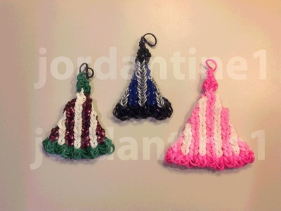 How To Make A Rainbow Loom Winter Snow Hat Charm or Ornament - Vertical Stripe