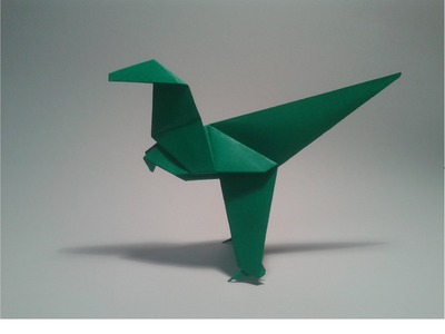 Origami: How to make an easy dinosaur (velociraptor)