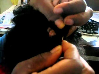Removing rubber bands from hair with a seam ripper!