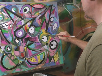 ABSTRACT CATS PAINTING TIME LAPSE by RAEART