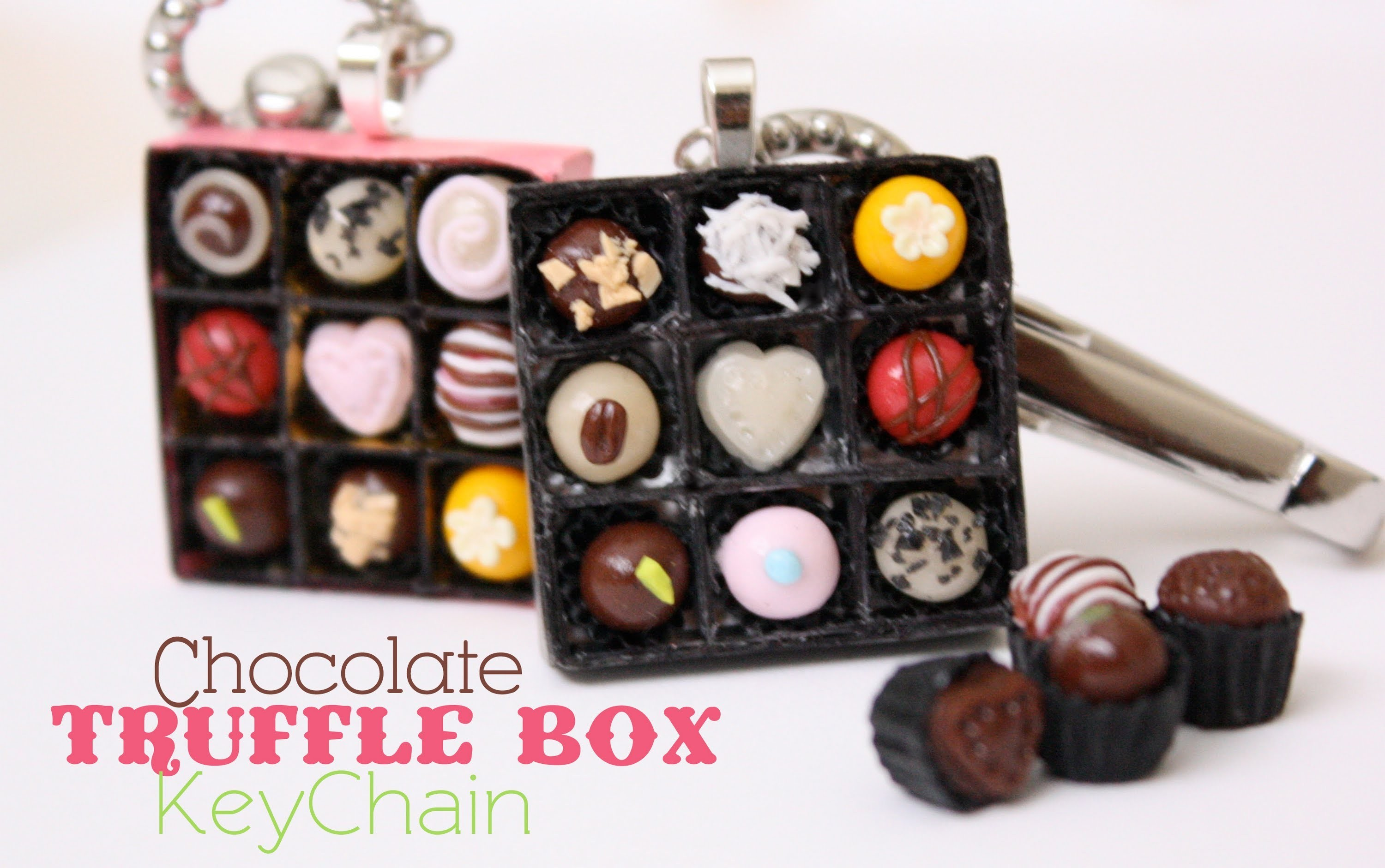 Chocolate Truffle Box - KeyChain - How To Make Polymer Clay Candy