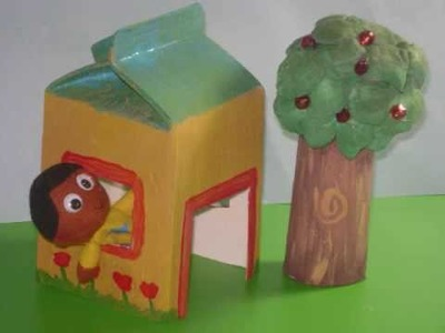 How to make a cute play house with a juice or milk carton - EP