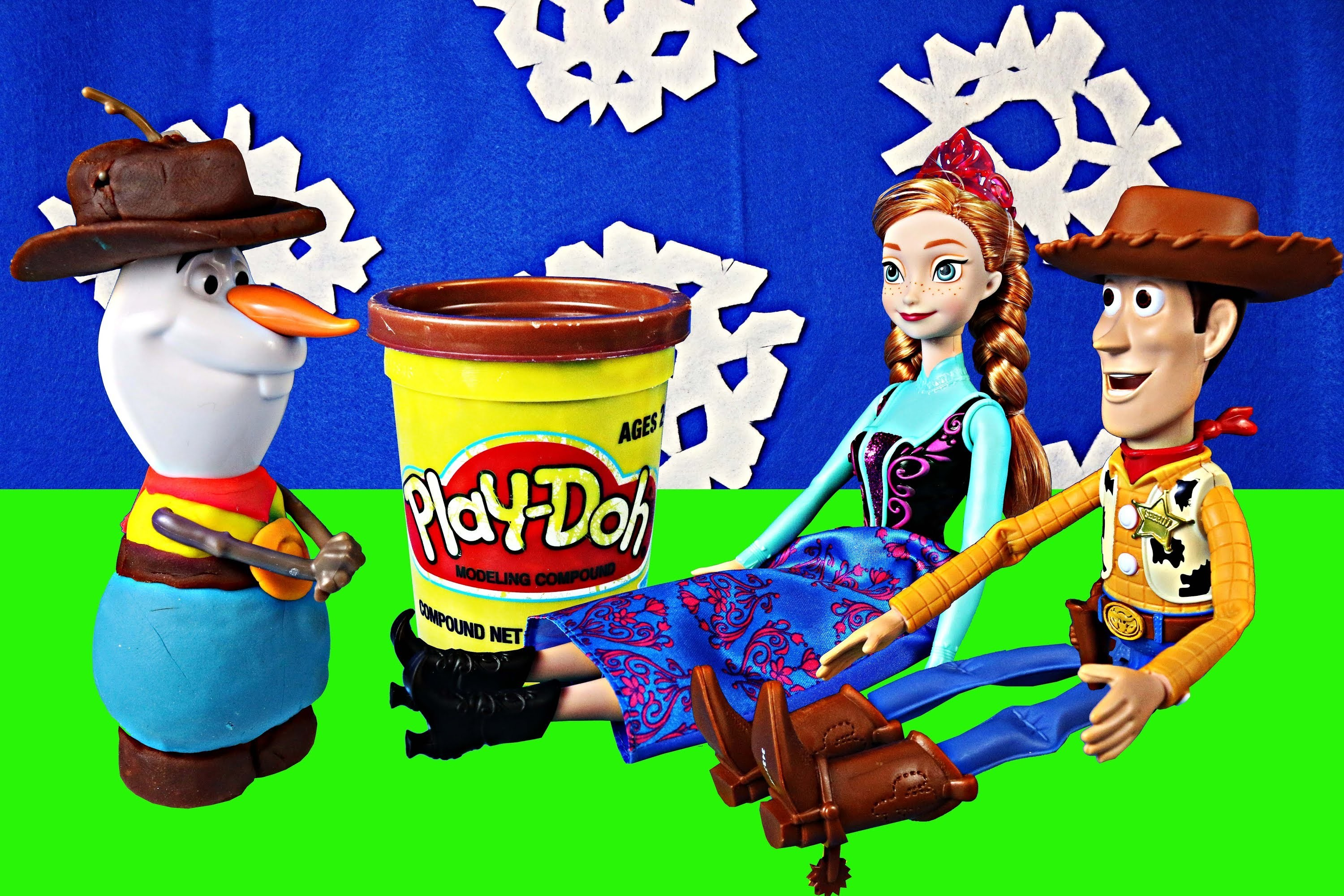 Play Doh Cowboy Frozen Barbie Doll Parody with Snowman Olaf Barbie Anna and Toy Story Sheriff Woody