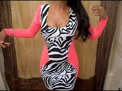 Zebra print & Hot Pink Mesh long sleeve dress MADE.DESIGNED BY ME