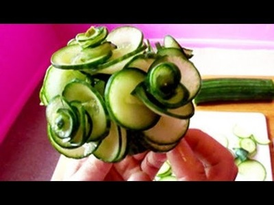 Art In Cucumber Show - Vegetable Carving Rose Tutorial