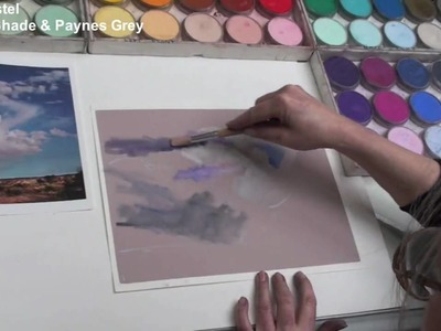 Cloudy Landscape Painting with PanPastel