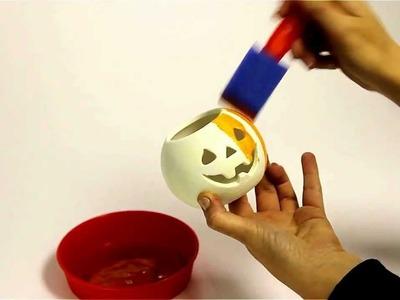 How to decorate ceramic pumpkin tealight holders