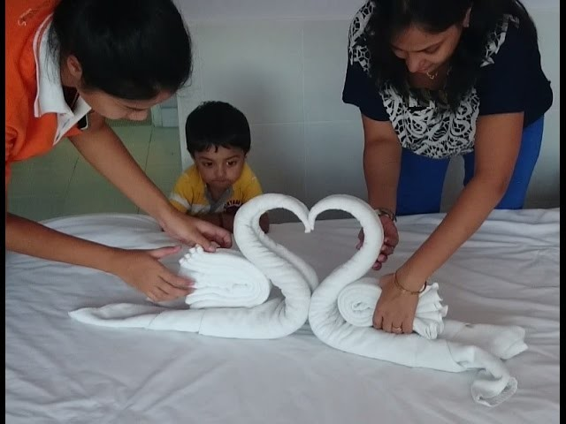 How to make Towel art. Towel Origami Swans