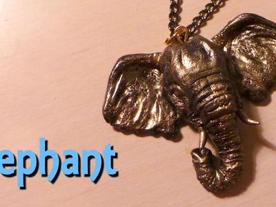 Polymer clay jewelry; Gold elephant pendant - Tutorial