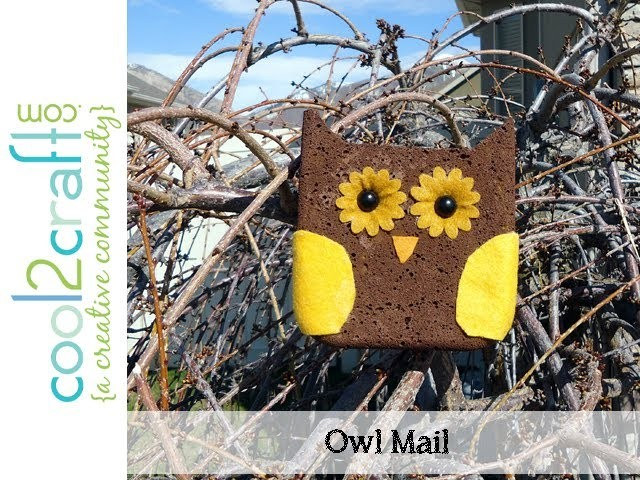 How to Make Owl Postcard Mail from a Sponge by Candace Jedrowicz