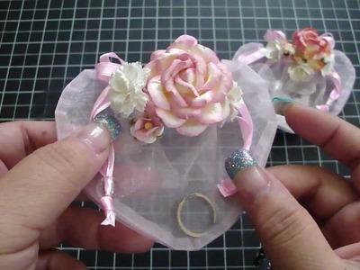 Pink Sheer Organza Heart Jewelry Gift Bag