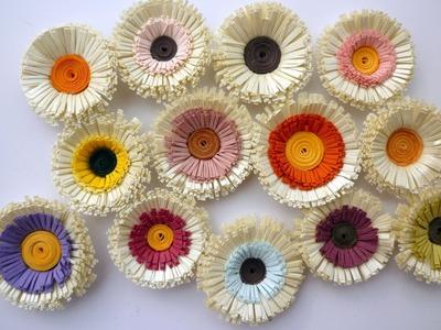 Quilled Fringed Flowers - Fleurs Frangées en Papier Roulé