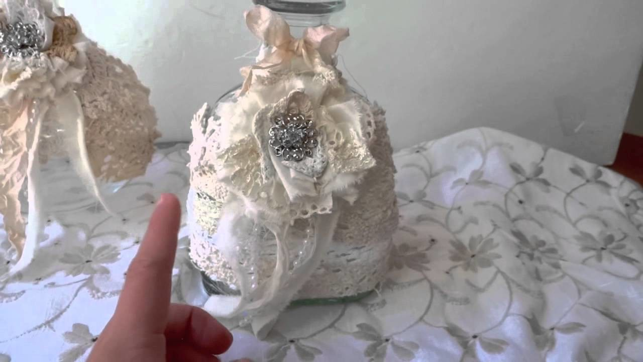 Vintage Shabby Chic Wine Decanter & Bottle - Silent Auction **OPEN**